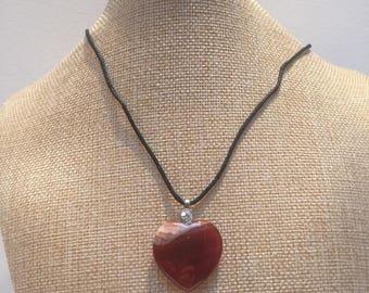 Cord heart carnelian stone necklace