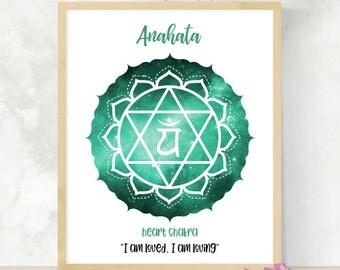 Heart Chakra Print | Fourth Chakra Symbol | Anahata | 4th Chakra Meditation  | Healing Art Print | Yoga Studio Poster | Zen Meditation