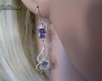 """Amethyst silver Arabesque"" earrings"