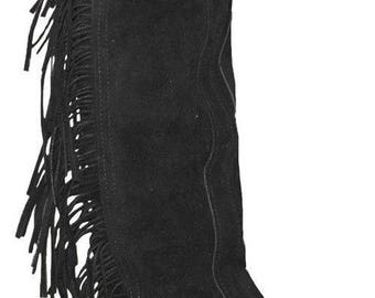 Adult sized split leather western half chaps with fringe # 19 Made in USA