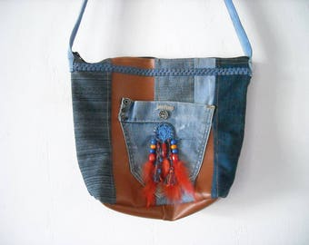 dream catcher and for customized original bag, lined zipped jeans