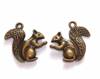 Set of 2 squirrel charms charms