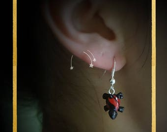Silver, red and black turtle with polymer clay earrings