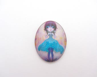 Oval glass cabochon 30x40 Girl, jewelry finding,cabochon,women cabochon,