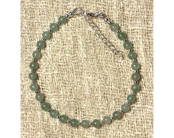 Aventurine bracelet 925 sterling silver and green 4mm