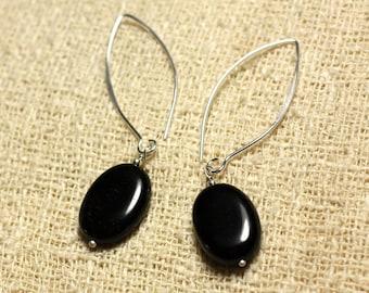 Earrings Silver 925 hooks 40mm - obsidian black oval 18x13mm