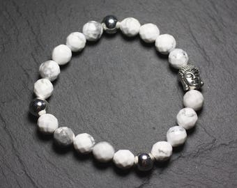 Buddha and gemstone - faceted 8mm Howlite bracelet