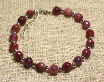 Bracelet 925 sterling silver and Ruby faceted 6mm beads