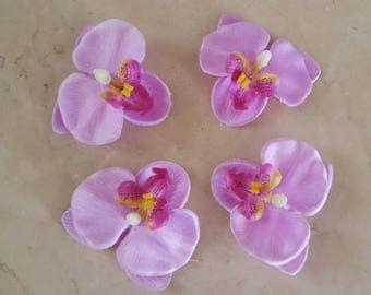 set of 4 appliques flowers Orchid 6.5 cm