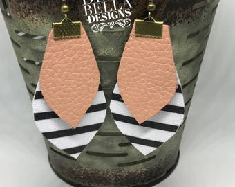 Black and white striped leather earrings with blush leather