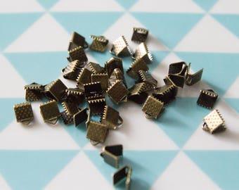 Set of 50 end caps 6 mm for MULTISTRAND bracelets claws, bronze color