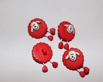 Fancy patterned sheep kids button