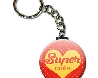 Super Darling key chain 38mm (man husband birthday sweetie Valentine's day gift idea)