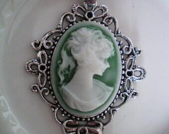 Large cameo - Retro pendant - Tibetan Silver 5.5 x 4.5 cms - Green