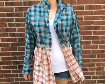 XL Blue and Pink Plaid Button Down