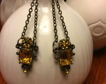 Gold and Bronze Drop Dangles Assemblage Earrings
