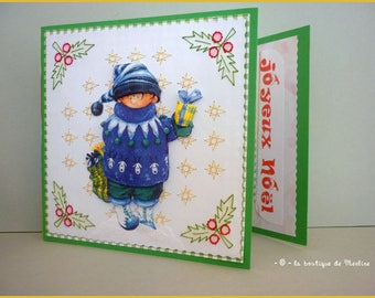 Greeting card: 3D baby boy with gifts