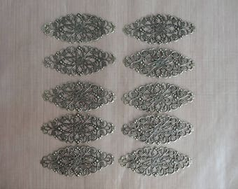 Print filigreed flower motif for jewelry GM - set of 10