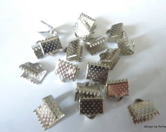 10 end caps, cord or Ribbon - cache node in Metal 8x6mm