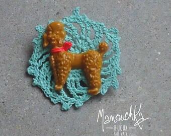 Crochet blue poodle - brooch