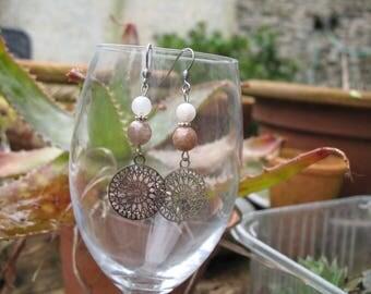 Filigree earrings, agate and mandala