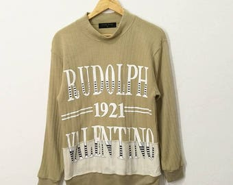 RARE!! Rudolph Valentino Big Spell Out Sweatshirt Jumper Pullover Sweater