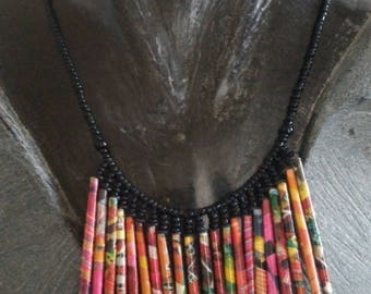 Multicolored necklace recycled paper
