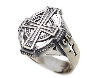 Cross Save & Protect Men's Ring Sterling Solid Silver 925 SKU30382