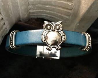 Blue leather with a past OWL leather bracelet