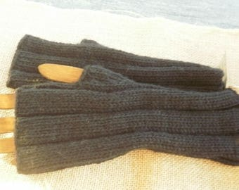 Knitted mittens handmade in a wool black, 5/2 sides