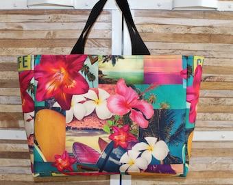 Hawaiian patterned tote bag