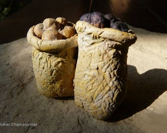 Two bags of potatoes, vegetables and naturalistic miniature