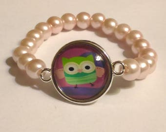4-6 years old girl bracelet glass beads and OWL cabochon