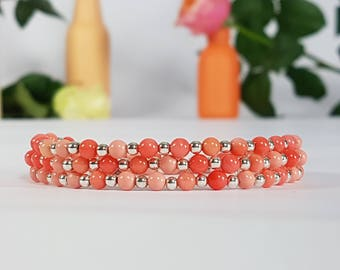 Coral gemstone bracelet bracelets for women nature jewelry dainty bracelet beaded bracelet boho bracelet friendship bracelet gifts for women