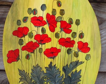 poppies painted on wood - green gradient background