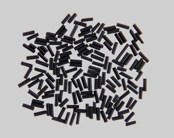 Bag of 22G approximately 600 glass black tube seed beads
