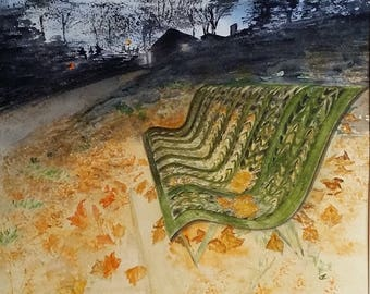 Bench in the night among autumn leaves. Original watercolor painting