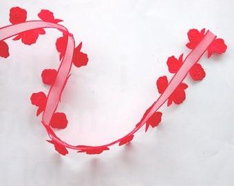 Ribbon organza and satin x 2 m - red ROSES - No. 1420
