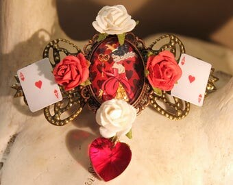 """Brooch/hair clip bronze Steampunk Retro vintage """"The Queen of hearts"""" from Alice in Wonderland"""