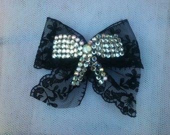 Black Lace and rhinestone bow brooch