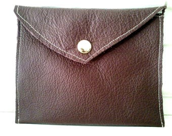 Lined red brown leather wallet or Kit