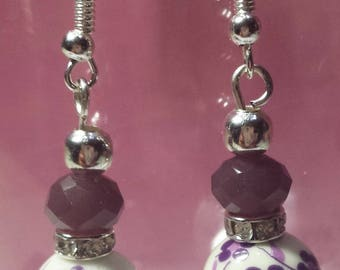 Earrings made of porcelain and swarowski Crystal violet 2
