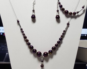 Stunning wired necklace, Hematite bracelet and earrings set pink