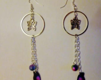 Light green purple butterfly earrings pink and black