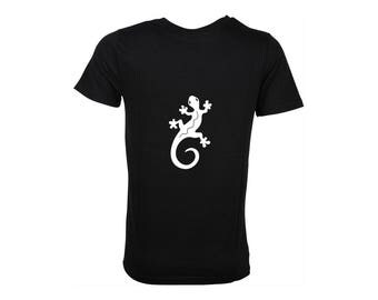 Men's black cotton T-shirt, salamander