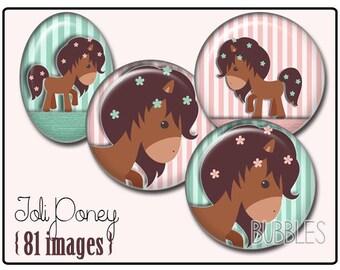Ponies Printable Images Digital Collage Sheet for Jewelry Making - Digital collage sheets