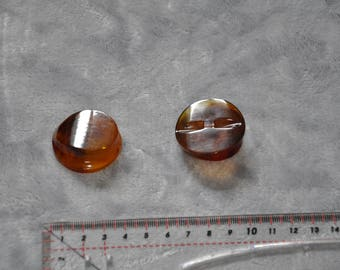Set of 2 round buttons tunnel resin amber 35 mm - vintage - very good condition