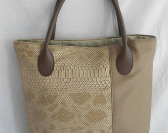 Grained leather and python bag