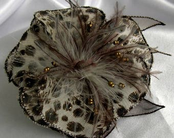 Brown/taupe fabric flower brooch & feathers and beads