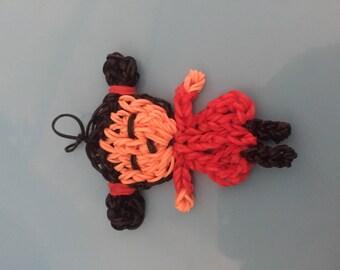 Rainbow loom door keys/figurine little girl in ponytails